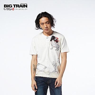BIG TRAIN 銀狼嘯月開襟短袖-男-白色