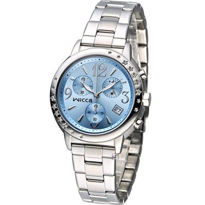 CITIZEN WICCA 繽紛甜美計時腕錶(BM1-113-71)-藍/34mm
