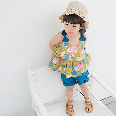 Baby unicorn 黃藍水果蝴蝶結無袖套裝2件組