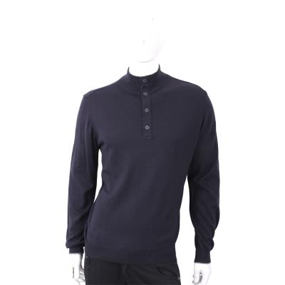 TRUSSARDI 排釦小立領深藍色針織羊毛衫