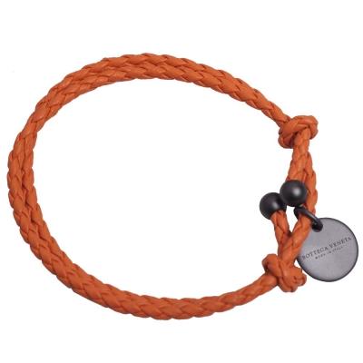 BOTTEGA VENETA 手工雙圈編織小羊皮手環(橘)