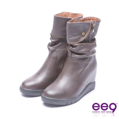 ee9 率性風采素面百搭內增高厚底中筒靴 咖色