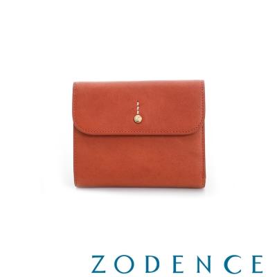 ZODENCE 義大利質鞣革系列迷你LOGO設計多卡層短夾 橘紅