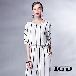IGD英格麗 優雅條紋雪紡連身褲-白色