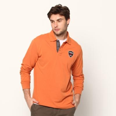 JEEP簡約細緻長袖POLO衫(地球橘)