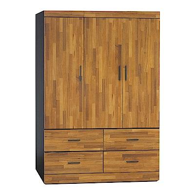 品家居 萊妮4.1尺雙色三門四抽衣櫃(二色可選)-121.5x58x176cm免組