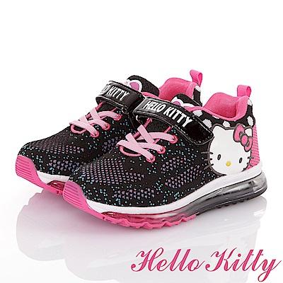HelloKitty 飛織透氣抗菌防臭防滑氣墊休閒童鞋-黑