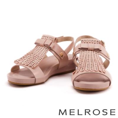 涼鞋 MELROSE 流蘇水鑽蝴蝶結牛皮厚底涼鞋-粉