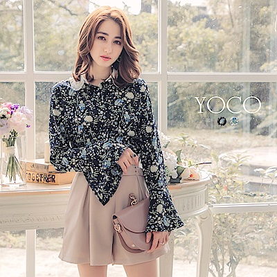 東京著衣-yoco秘密花園滿版印花荷葉墜領喇叭袖襯衫-S.M.L(共二色)