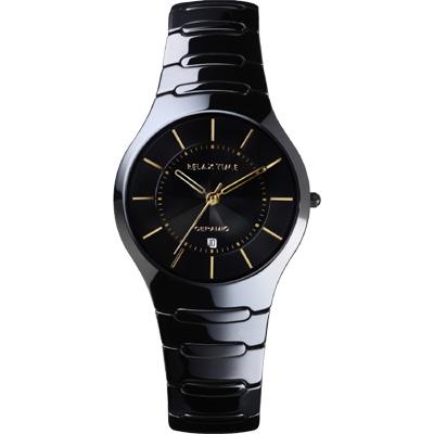 Relax Time 經典藍寶石陶瓷腕錶-黑x金時標/ 37 mm