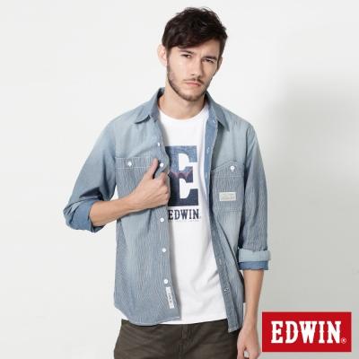 EDWIN INDIGO直條長袖襯衫-男-拔淺藍