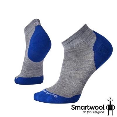 SmartWool PhD菁英減震 跑步 低筒 跑襪 淺灰/深藍