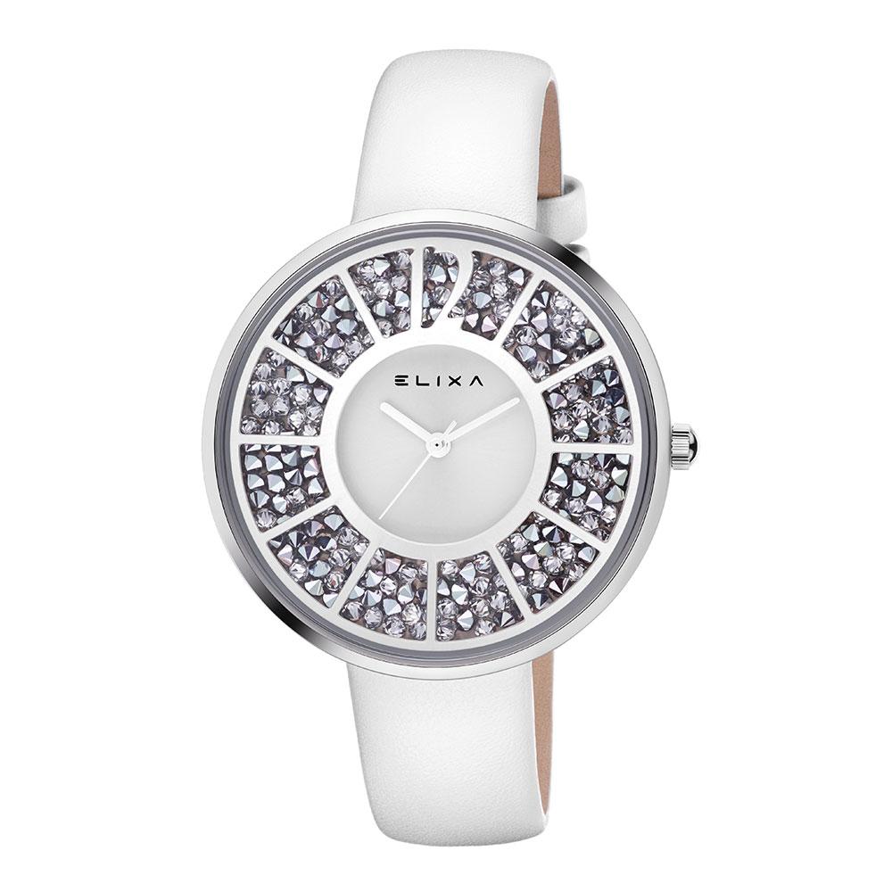 ELIXA Finesse晶鑽錶面幾何刻度系列 氣質白40mm