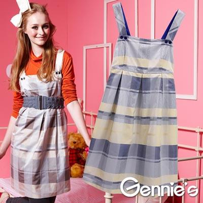 【Gennie's奇妮】輕時尚格紋秋冬孕婦背心洋裝- 灰藍/淺卡(G2Y02)