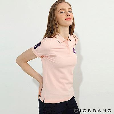 GIORDANO 女裝馬頭立體刺繡彈力萊卡短袖POLO衫-52 薄紗粉紅