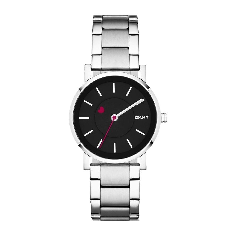 DKNY 愛戀物語時尚腕錶-黑x銀/34mm