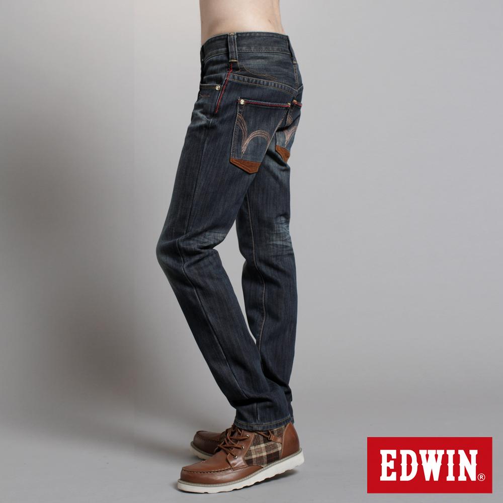 【EDWIN】映像圖騰 B.T W.F窄直筒保溫褲-男款(原藍磨)