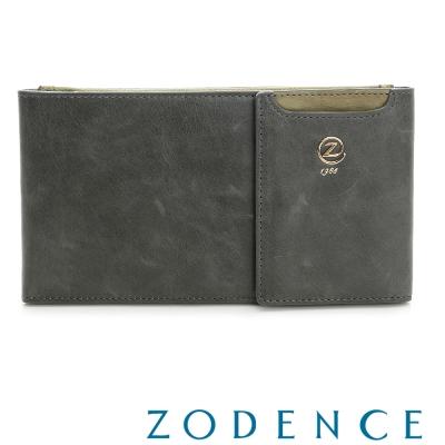 ZODENCE-雲朵紋路系列-仿古雙色多卡層牛皮長夾-灰