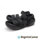 RegettaCanoe-三條滾邊寬帶可調式樂步鞋-經典黑