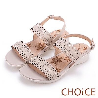 CHOiCE 異國渡假風 簍空造型牛皮踝帶涼鞋-米色