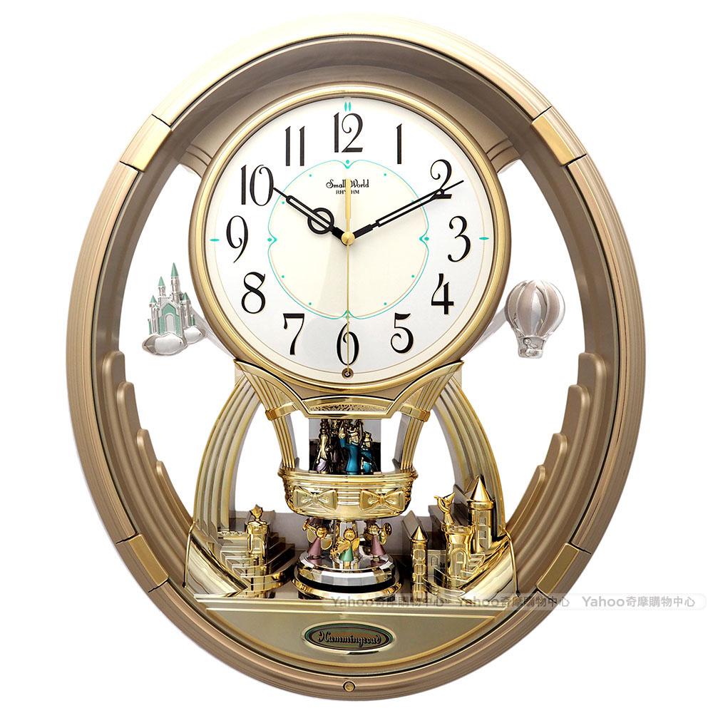 RHYTHM日本麗聲 夢幻擺錘整點音樂報時掛鐘/41cm