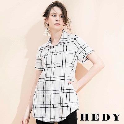 Hedy赫蒂 立領格紋長版襯衫(共兩色)