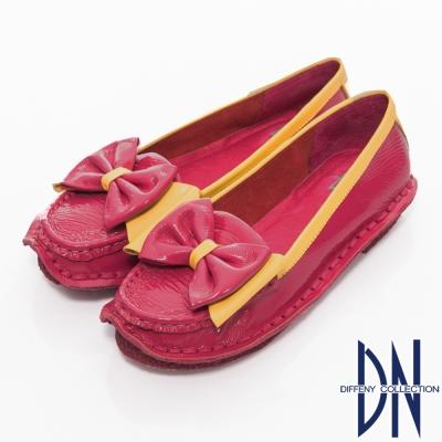DN 舒適滿分 鏡面牛皮蝴蝶結手縫包鞋 桃
