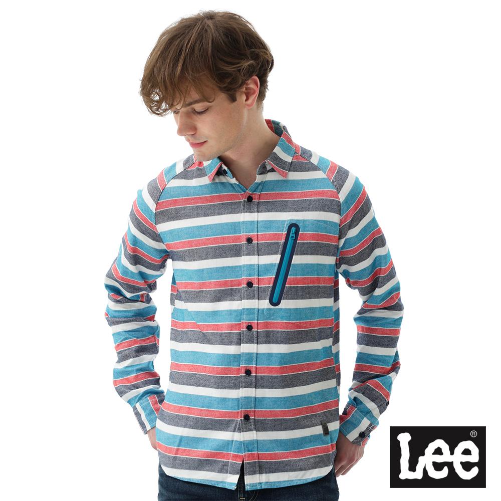 Lee 磨毛條紋襯衫/UR-男款-藍