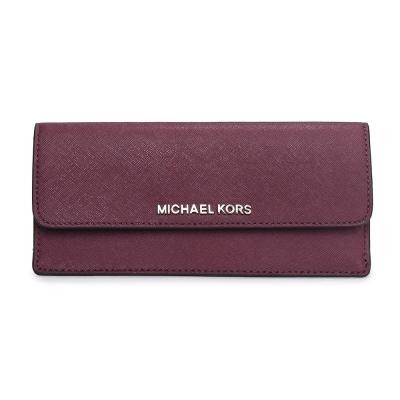 MICHAEL KORS JET SET 銀LOGO雙色防刮皮革薄型壓釦長夾-梅紅/粉色