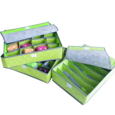 (活動)竹炭美人內衣小物收納盒7格、16格、24格各一入-綠色