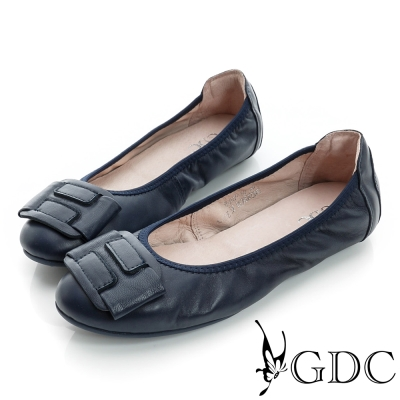 GDC百搭-柔軟造型飾扣彈力真皮平底娃娃鞋-藍色