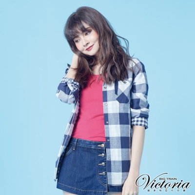 Victoria 雙面布格紋連帽長袖襯衫-女-藍白格