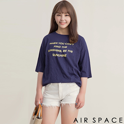 AIR SPACE PLUS 中大尺碼 配色字母標語圓領T恤上衣(藍)