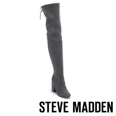 STEVE MADDEN-NORRI 過膝長筒後綁帶粗跟套靴-深灰
