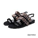 達芙妮DAPHNE 涼鞋-一字流蘇絨面低跟涼鞋-黑