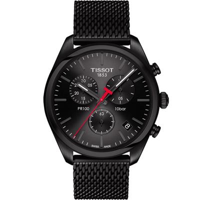 TISSOT 天梭 PR100經典時尚米蘭帶石英計時腕錶-黑色