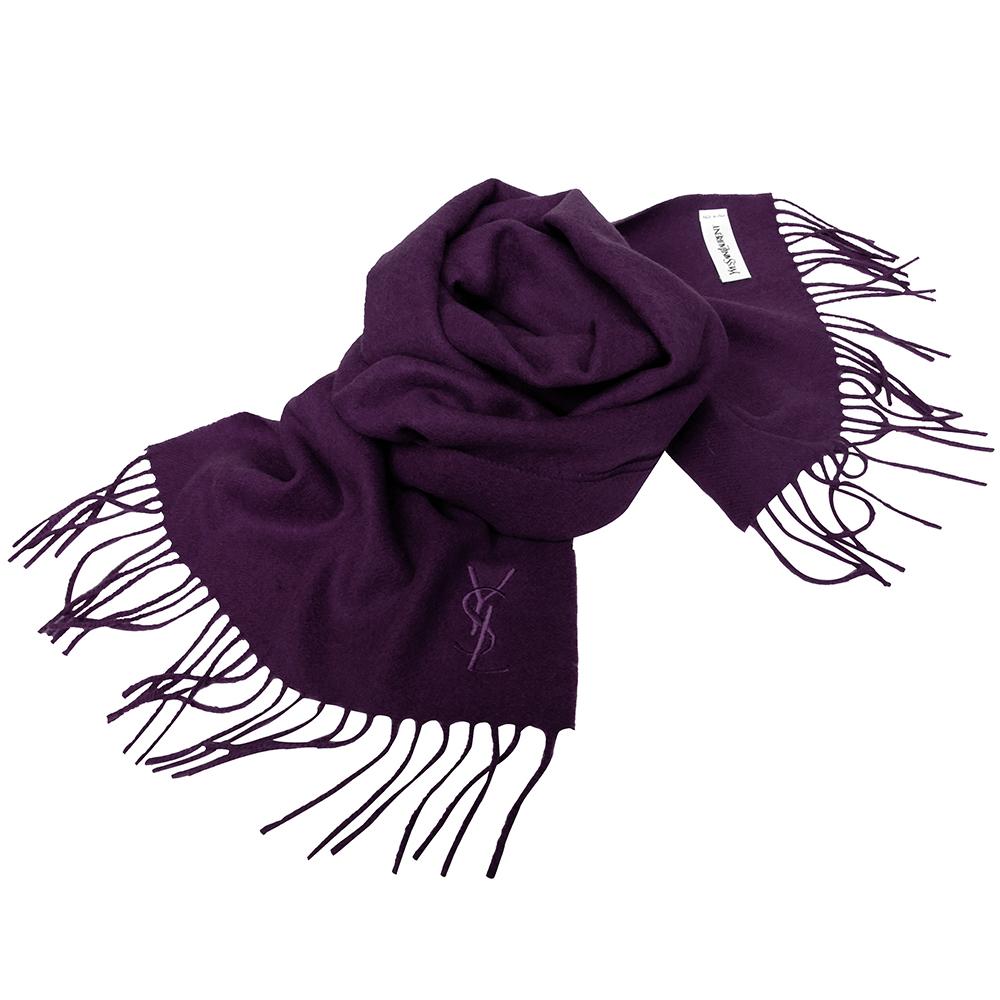 YSL Saint Laurent素面純羊毛/CASHMERE混紡圍巾(紫色)