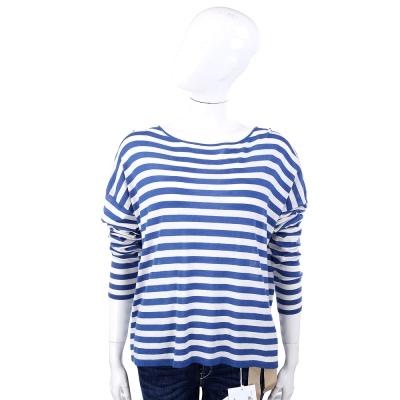 MARELLA 藍白色條紋寬版長袖上衣