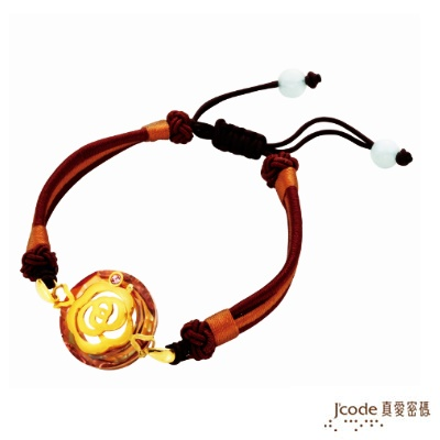 J code真愛密碼金飾 經典茶花 純金中國繩手鍊