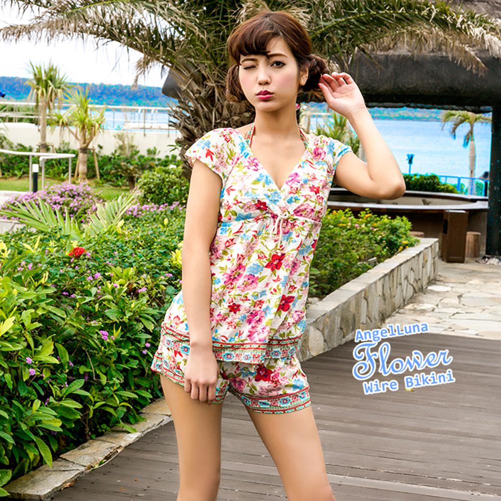 【AngelLuna日本泳裝】度假風情四件式比基尼泳衣-米色V領