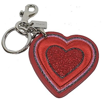 COACH紅色愛心造型牛皮鑰匙圈