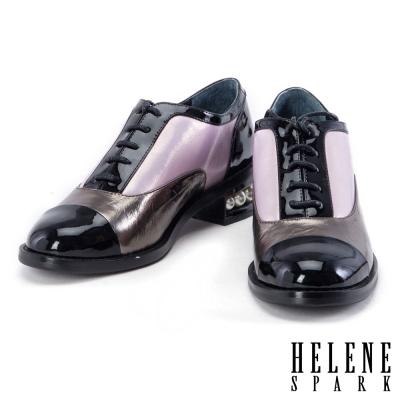 粗跟鞋 HELENE SPARK 異材質拼接撞色牛津粗跟鞋-粉