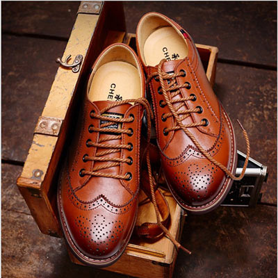 美國熊 英倫風格 透氣牛皮 手工復古雕花 休閒皮鞋