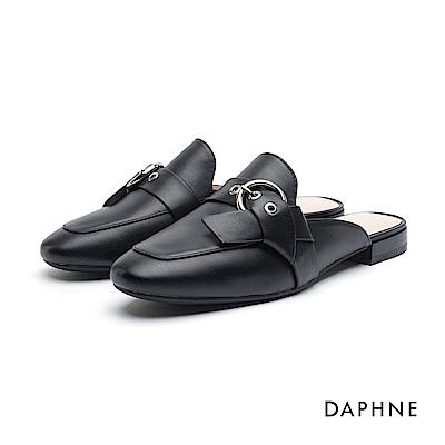 達芙妮DAPHNE 休閒鞋-真皮金屬皮帶釦穆勒鞋-黑