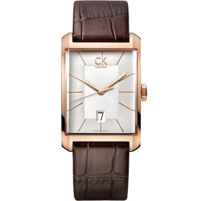 Calvin Klein CK紳士風尚真皮方錶手錶-淡金X玫瑰金/31x39mm