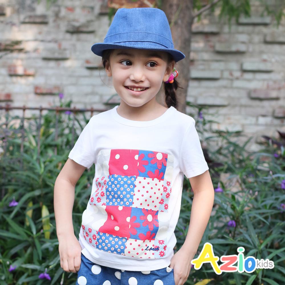 Azio Kids-點點格子宮格拼布休閒棉T(白花)