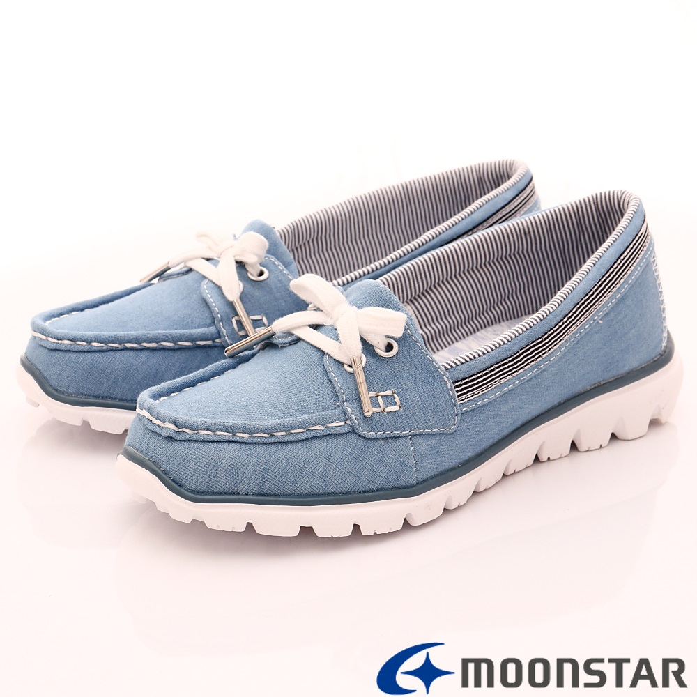 日本Moonstar戶外健走鞋-popcorn柔軟系列-4025藍(女段)