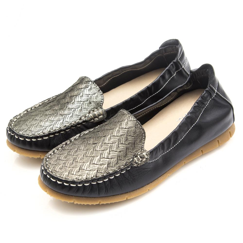 G.Ms. MIT系列-牛皮金粉編織繩紋莫卡辛鞋-黑色