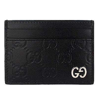 GUCCI Guccissima黑色厚質真皮壓紋雙G標誌票卡名片夾