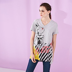 ICHE 衣哲 時尚設計V領亮片印花造型拼接長版上衣-灰